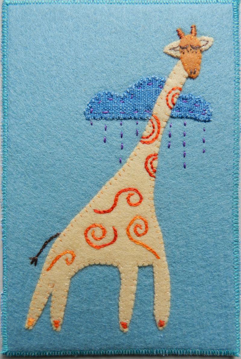 Sleeping Giraffe postcard