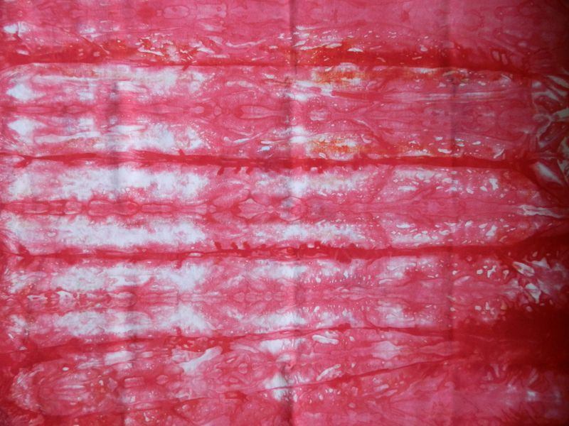 Fire red pleated shibori