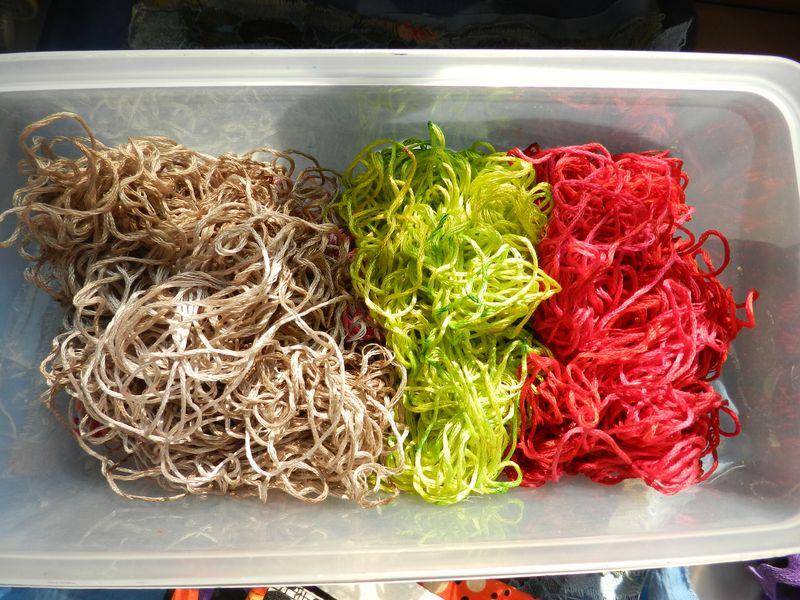 Thread, walnut dye and Procion dye