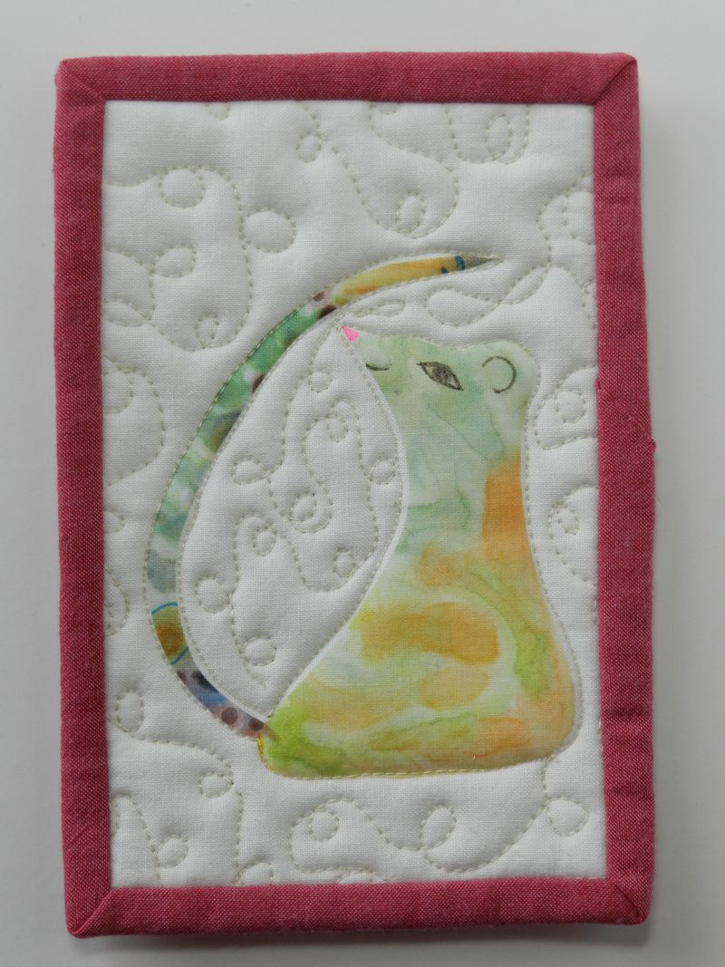 Watercolor transfer mouse on fabric postcard