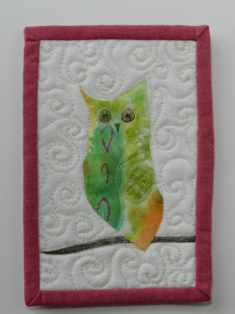 Watercolor transfer owl 2 on fabric postcard (2)